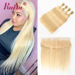 $enCountryForm.capitalKeyWord Australia - #613 Blonde Bundles With Frontal Brazilian Straight Hair Weave 3 Bundles With Frontal Lace Frontal Closure With Remy Human Hair Wefts Ruiyu