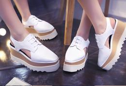 platform cutout wedge 2019 - Stella Elyse Cutout Platform Oxford Platform Shoes Lace-Up Wedge Leather Wedge Heel Square Toe Women's Sandals Shoe