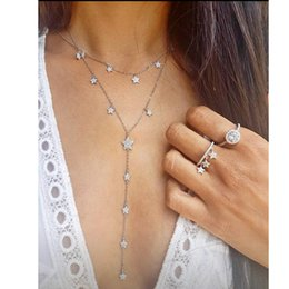 Lovely Chains Australia - Lovely Cz Star Charm Long Women Necklace Silver Gold Color Fashion Trendy Jewelry Cubic Zirconia Cz Charming Lariat Chain Y19050802