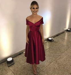 0f1e99802615 2019 Off the Shoulder Tea Length Short Prom Dresses Burgundy Homecoming  Party Dresses Cute Semi Formal Occasion Gowns Custom Made