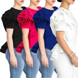 White Roses Blouse Australia - Women Blouse Tops Shirt Layers Petal Sleeves Elegant Fashion Spring Summer Rose Red Blue Black White Bluas Ruffles Classy Lady Clothes