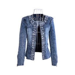 $enCountryForm.capitalKeyWord Australia - Plus Size Womens Vintage Elastic Sequins Diamonds Denim Blue Jacket Stand Neck Slim Short Jacket Lady Fashion Casual Autumn Coat