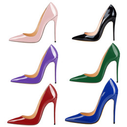 China New patent leather pointed women shoes sexy 8.5cm 10cm 12cm stiletto heels wedding party pumps 18 colors big size 35-44 supplier white wedding dresses size 18 suppliers