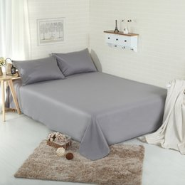 Lilac Linen Sheets Australia - Bedding Sheet Home textile Printing Solid Color Flat Sheets 100% Pure Cotton Bed Sheet Bedding Linen for Double King Queen Size