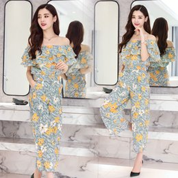 korean floral shirts NZ - 2020 Summer Chiffon Printed Two-piece Set Sexy Off Shoulder Elastic Shirt Top + Wide Leg Pants Korean Floral Women Boho Suit