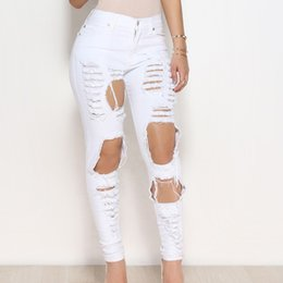 bleach crystals NZ - High Waist Trim Stretch Hole Tear Personality Jeans Street Casual Women Skinny Pencil Bleached Washed Denim Pants Ripped Elastic