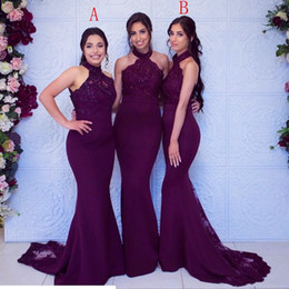 Customized formal dresses online shopping - New Cheap Grape Bridesmaid Dresses For Weddings Halter Neck Lace Sequins Sleeveless Mermaid Plus Size Formal Maid of Honor Gowns Under