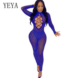 see through jumpsuit romper NZ - YEYA Sexy See-Through Mesh Rhinestone Glitter Sheer jumpsuit Women Long Sleeve Sparkly Romper Front Lace Up Party Club Overalls
