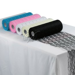 "rolling chairs NZ - 12"" x 25Yards Lace Roll DIY Netting Lace Fabric Tulle Roll Spool for Tutu Skirt Table Runner Chair Sash Bow Wedding Party Decor SH190913"
