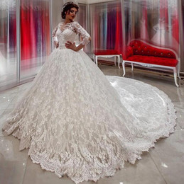 AmAzing wedding dress luxury online shopping - 2019 Amazing Middle East Arabic Luxury Ball Gown Wedding Dresses court Train full Lace half Long Sleevespuffy bridal gown lace up plus size