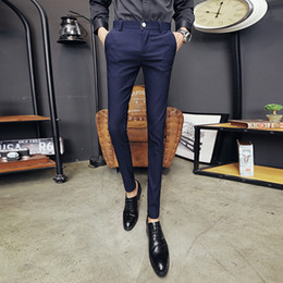 Discount club style clothing - British Style Pants Men Autumn Winter Slim Fit Casual Solid Dress Suit Pants Night Club Prom Long Trousers Men Clothes 2