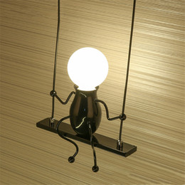 $enCountryForm.capitalKeyWord Australia - Novelty LED Wall Light Fixture Modern Simple Doll Swing Children Wall Lamp Mounted Iron Sconce Wall Light for Kids Baby Bedroom