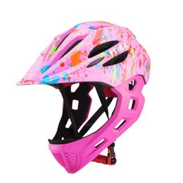 $enCountryForm.capitalKeyWord Australia - Ftiier Kid Bicycle Helmet Detachable Children Full Face Bike Helmet For Mountain Mtb Road Bike With Led Rear Light Red