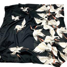 $enCountryForm.capitalKeyWord Australia - 2019 new Chinese style fairy crane print scarf female spring and autumn winter new cotton and linen hand tassel shawl dual-use scarf black
