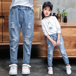 0420b09a4d46 Girl Boys Ripped Jeans Autumn Children Pants Holes Jeans Big Kids Fashion  Denim Trousers Boys Clothing 4-13 Years