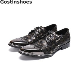 Discount men fashionable cap - Classic Fashionable Korean Style Men Shoes Genuine Leather Polka Dots Decoration Metal Cap Toe Set Foot Men Casual Shoes