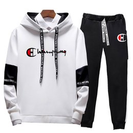 Wholesale joggers hoodie for men for sale – custom 2020 Brand New Tracksuit Suits Men Quality Spring Men Sporting Hooded Hoodie Pants Two Piece Sweat Set Jogger Track Suit For Clothes