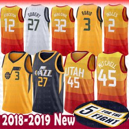 Youth Men Utah 45 Donovan Mitchell 3 Ricky Rubio Jazz Jersey 27 Rudy Gobert  2 Joe Ingles 32 Karl Malone 12 John Stockton 24 Grayson Allen 6b059aca0