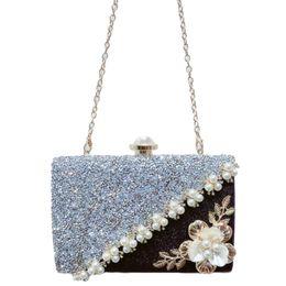 Discount handmade flowers clutch - FGGS-Handmade Flowers Evening Bag Ladies Luxury Pearl Stitching Sequins Scrub Clutch Bridesmaid Bride Wedding Wallet