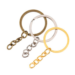 key ring split bronze UK - Split Key Ring with Chain Silver Gold Bronze Color Metal Split Keychain Ring Parts Jump Rings