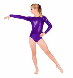 spandex ballet Australia - SPEERISE Girls Shiny Metallic Long Sleeve Leotards Gymnastics Spandex One-piece Leotards Bodysuit Ballet Dance Costumes Kids