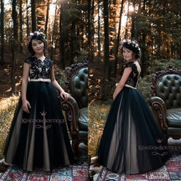 cb5ca171a79 Gothic burGundy black weddinG Gowns online shopping - Gothic Black Flower  Girl Dresses for Country Garden
