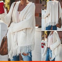 Wholesale fringe cardigan resale online - New Fashion Women Autumn Casual Jacket Long Sleeve Knitted Fringe Tassel Cardigan Loose Sweater Outwear Winter Coat J191053