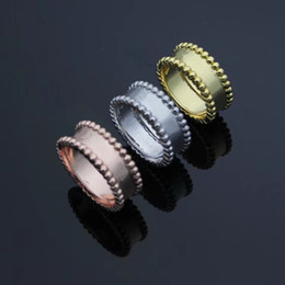 brass plating rings NZ - New Arrival Fashion Lady Brass Double Rows Beads Lettering Signature 18k Gold Plated Engagement Wedding Bead edge Rings 3 Color Size6-8