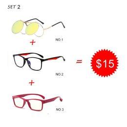 d58d5acb6cd Trend Square glasses Men Flip Up Clip Sunglasses Women Fashion decoration  Glasses 3 Pieces Combination 15 Dollars Eyewear HN06