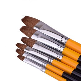 6pcs set weasel hair Flat peak Acrylic Art Craft Artist Oil Watercolor Painting Paint Brush row pen art supplies