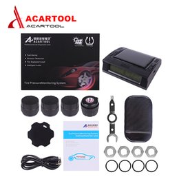 Battery Monitoring Australia - Acartool TPMS LCD Display Car Wireless Tire Pressure Monitoring Alarm System 4 Sensors Built-in Solar Battery free shipping