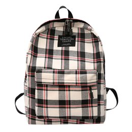 Discount plaid backpacks - 2019 NEW Bagpack Women New Bag Female Student College Wind Bag Plaid Canvas Backpack Travel Dropshipping mochilas escola