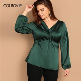 $enCountryForm.capitalKeyWord Australia - Colrovie Plus Size Green Twist Cross Wrap Satin Elegant Blouse Shirt Women Clothes 2019 Spring Fashion Shirts Office Ladies Tops SH190720