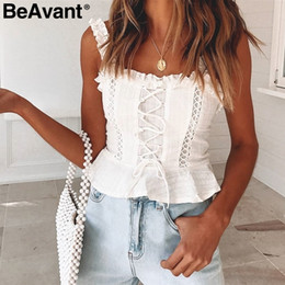 $enCountryForm.capitalKeyWord Australia - Beavant Vintage White Camisole Tank Women 2019 Summer Style Cotton Cami Top Female Lace-up Ruffle Strap Short Peplum Shirt J190622