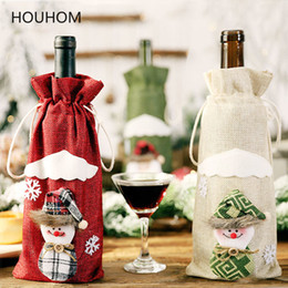 black gold table decorations Australia - Christmas Gift Wine Bottle Dust Cover Bag Santa Claus Snowman Tableware Christmas Decoration for Home Table New Year 2020 Decor