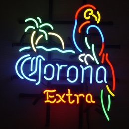 Parrot disPlay online shopping - Fashion New Handcraft Corona Extra Palm Tree Parrot Beer Bar Pub Store Party Recreation Room Wall Windows Display Neon Signs x24