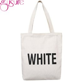 3a9f5501f04d Gusure Simple Letter Canvas Shoulder Bag Girls Large Capacity Student Book Handbag  Women Leisure Tote Cloth Shopping Bag