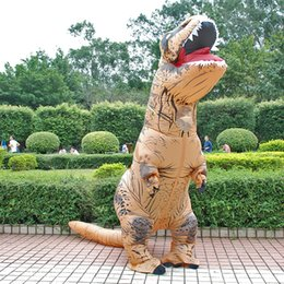 Wholesale costume woman mascot for sale – halloween 2019 New Halloween and Christmas Adult Kids Dinosaur T REX Costumes Blow Up Fancy Dress Mascot Costume for Men Women Dino Cartoon Toy
