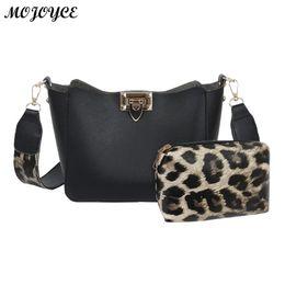 35e3a309a5b1 2pcs set Leopard Clutch Shoulder Handbags Women Leather Crossbody Bag  Fashion Purse Bolso femenino Mujer 2019 New Messenger Bags