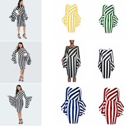 Vertical Listras Diagonais Vestido Mulheres Splice Flounce Mangas Vestidos Lady Bodycon Vestido Curto Listrado Patchwork Roupas Casuais Vestido GGA2054