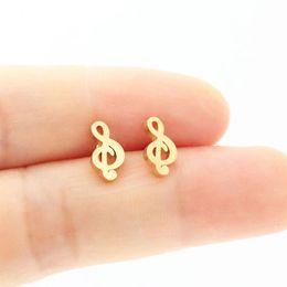 Earrings notEs musical online shopping - New Pair Custom Stainless Steel Earring Tiny Musical Note Earrings Musician Girls Kids Ear Studs Birthday Gift Jewelry T158