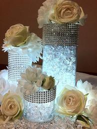 """$enCountryForm.capitalKeyWord Australia - Free Shipping 4.5"""" x1Yards (24rows) Silver Color Diamond Mesh Wrap Roll Rhinestone Crystal Ribbon Trim Wedding Party Decoration"""