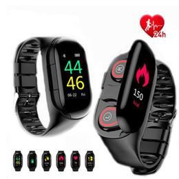 Watch long bracelet online shopping - M1 TWS Dual Bluetooth Earphone AI Smart Bracelet Watch Men Heart Rate Monitor Smart Wristband Long Time Standby Sport Watch