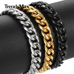 $enCountryForm.capitalKeyWord Australia - 6 9 11mm Bracelet for Men Women Silver Color Gold Color Black Stainless Steel Curb Cuban Link Chain Male Jewelry 8-10inch KBM168