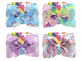 colorful bows NZ - 8 Inch Colorful Card paper Animal Stripe Hairpins For children hairpin Rainbow Unicorn Bows Kids Clips ribbon Bubble Bow Accessory 833j