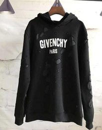 Discount paris hoodie - Winter Europe Paris Black Pink White Blue Fashion supren Men Broken hole Sweatshirt &#71ivenchy Women Hoodies Jumpers
