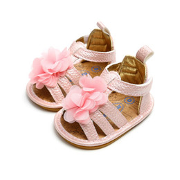Infant Girls Sandals UK - Infant Newborn Babys Girl Summer Shoes Soft Lovely flower Princess Shoe Sandals Beach Sandal Magic Babys shoes New