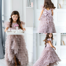 Red kids wedding dResses online shopping - 2020 High Low Flower Girl Dresses Kids Wedding Jewel Neck Feather Tiered Skirts Girls Pageant Dress A Line Custom Bow Birthday Party Gowns