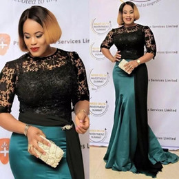 $enCountryForm.capitalKeyWord Australia - 2020 New Hot Plus Size Mother Off Bride Dresses Jewel Half Sleeves Black Lace Illusion Sweep Train Hunter Green Wedding Guest Evening Gowns
