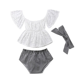 9483181bb 3pcs lot Infant fashion set baby girls bell sleeve top +striped short pants+ headband suit fashion children girls clothes